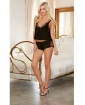 Cotton Spandex & Fishnet Camisole w/Short & Bra w/Adjustable V-Back Straps Black MD