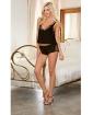 Cotton Spandex & Fishnet Camisole w/Short & Bra w/Adjustable V-Back Straps Black XL