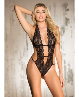 Stretch Lace Teddy w/Deep V Front, Attached Elastic Strips, Halter Tie & String Back Black SM