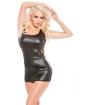 Kitten Lace & Wet Look Dress Black O/S