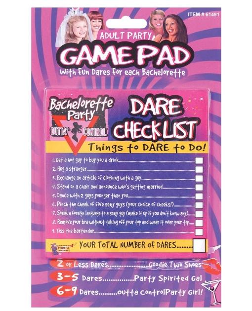 Bachelorette Party Outta Control Dare Checklist Game