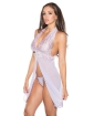 Sheer & Lace Chemise w/Open Front & G-String Lilac LG