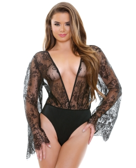 Romp Luna Kimono Sleeve Romper Black M/L