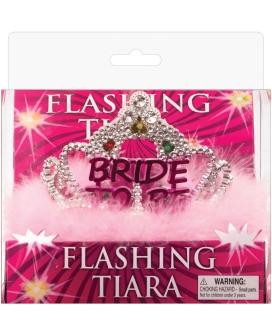 Flashing Bride to be Tiara w/Pink Marabou
