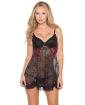Sheer Lace Chemise w/Lace Up Detail & G-String Black MD