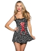 Heart Printed Dress w/Front Corset Detail Black XL