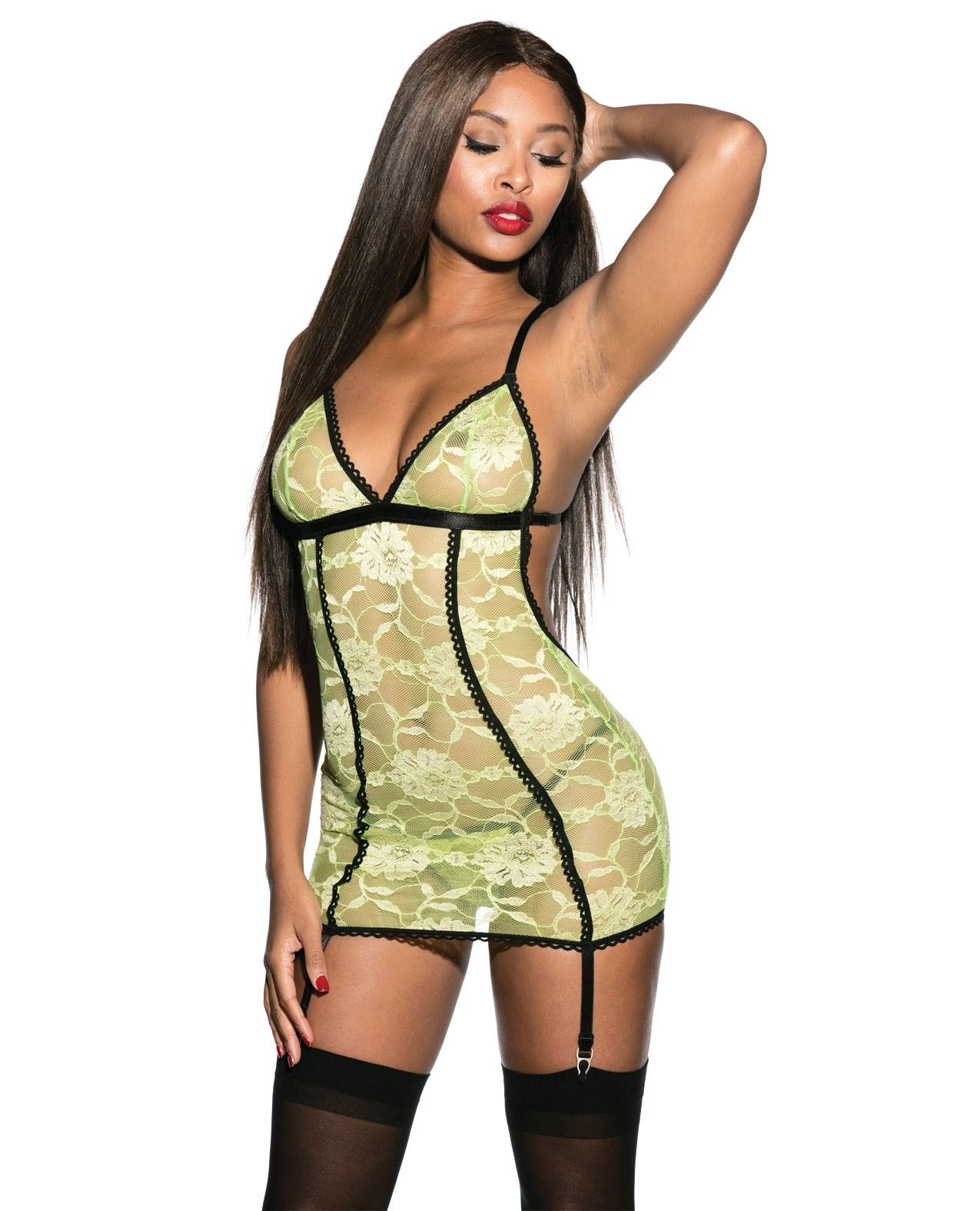 Mesh Lace Chemise Lime Green MD