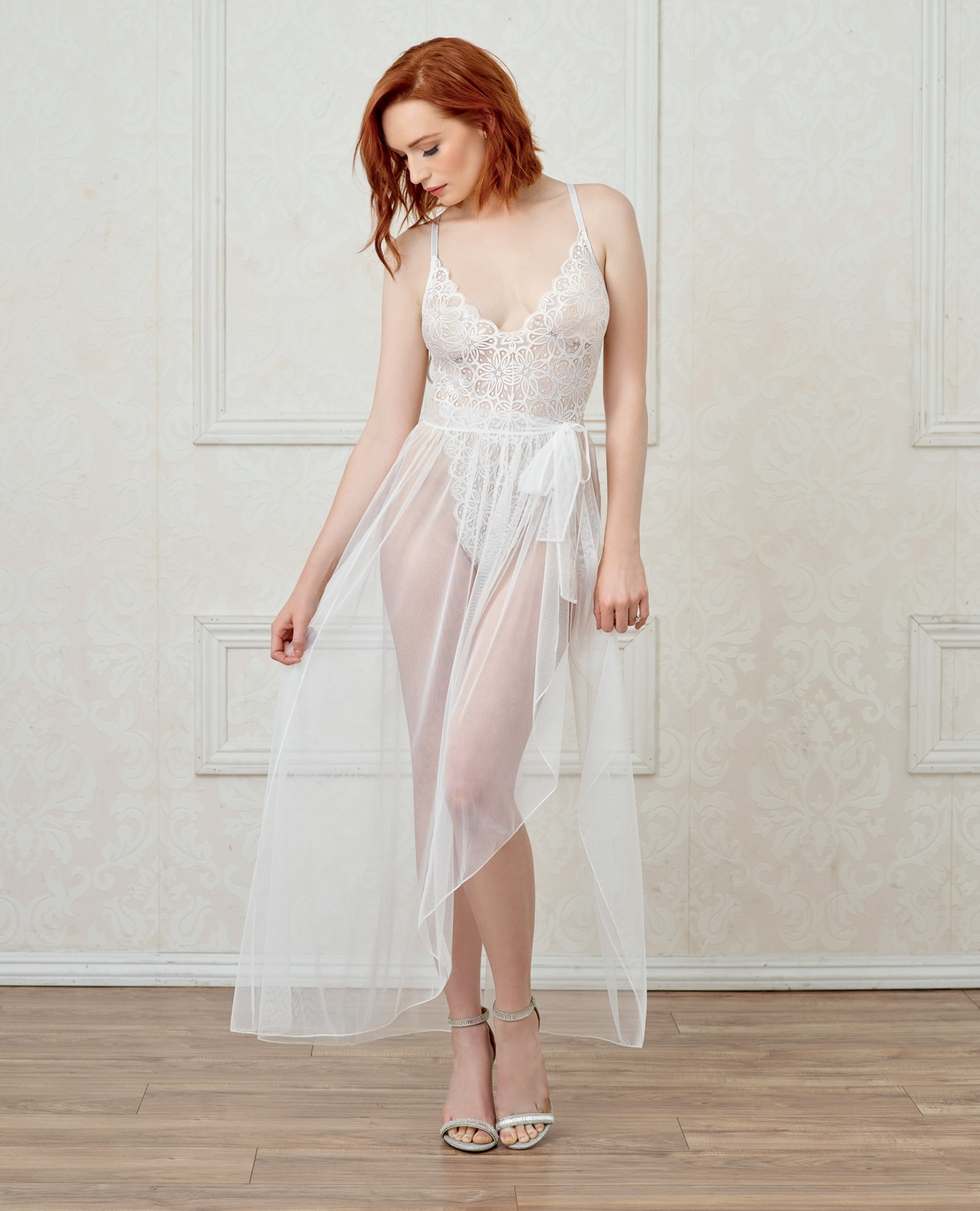 Stretch Lace Teddy & Sheer Mesh Maxi Skirt w/Adjustable Straps & G-String White LG