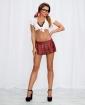 2 pc Knit Crop Top & Pleated Mini Skirt Plaid O/S