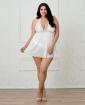 Stretch Mesh & Lace Galloon Halter Babydoll w/Adjustable Neck Ties & Tanga Panty White 3X/4X