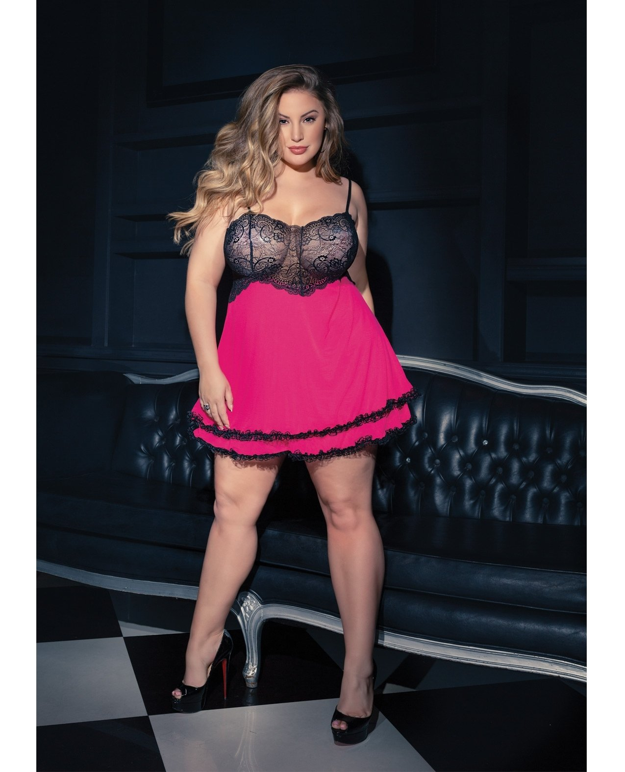 Scallop Stretch Lace Babydoll w/Layered Mesh Skirt G-String Hot Pink/Black OS/XL