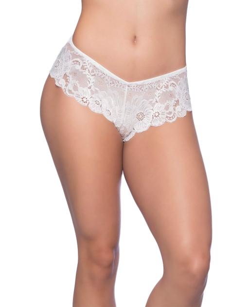 Suzette Soft Textured Lace High Leg Tanga White 3X