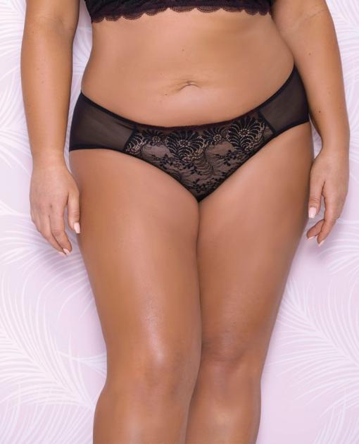 Scallop Lace & Mesh Hipster Panty Black 3X