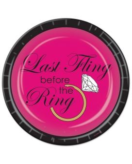 Bachelorette Last Fling Before the Ring Paper Plates - Pack of 8