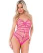 Pink Lipstick Seamless Open Netting Bodysuit w/Thin Straps Pink O/S
