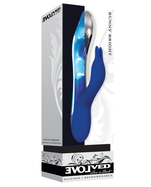 Evolved Bunny Bright Light Up Metallic Vibrator - Dark Blue