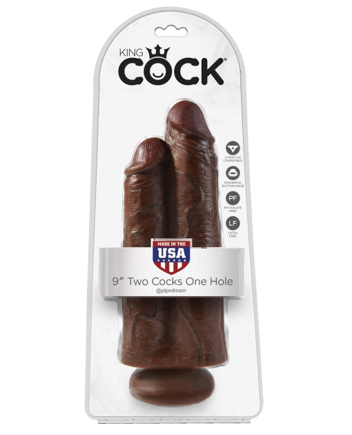 """King Cock 9"""" Two Cocks One Hole - Brown"""