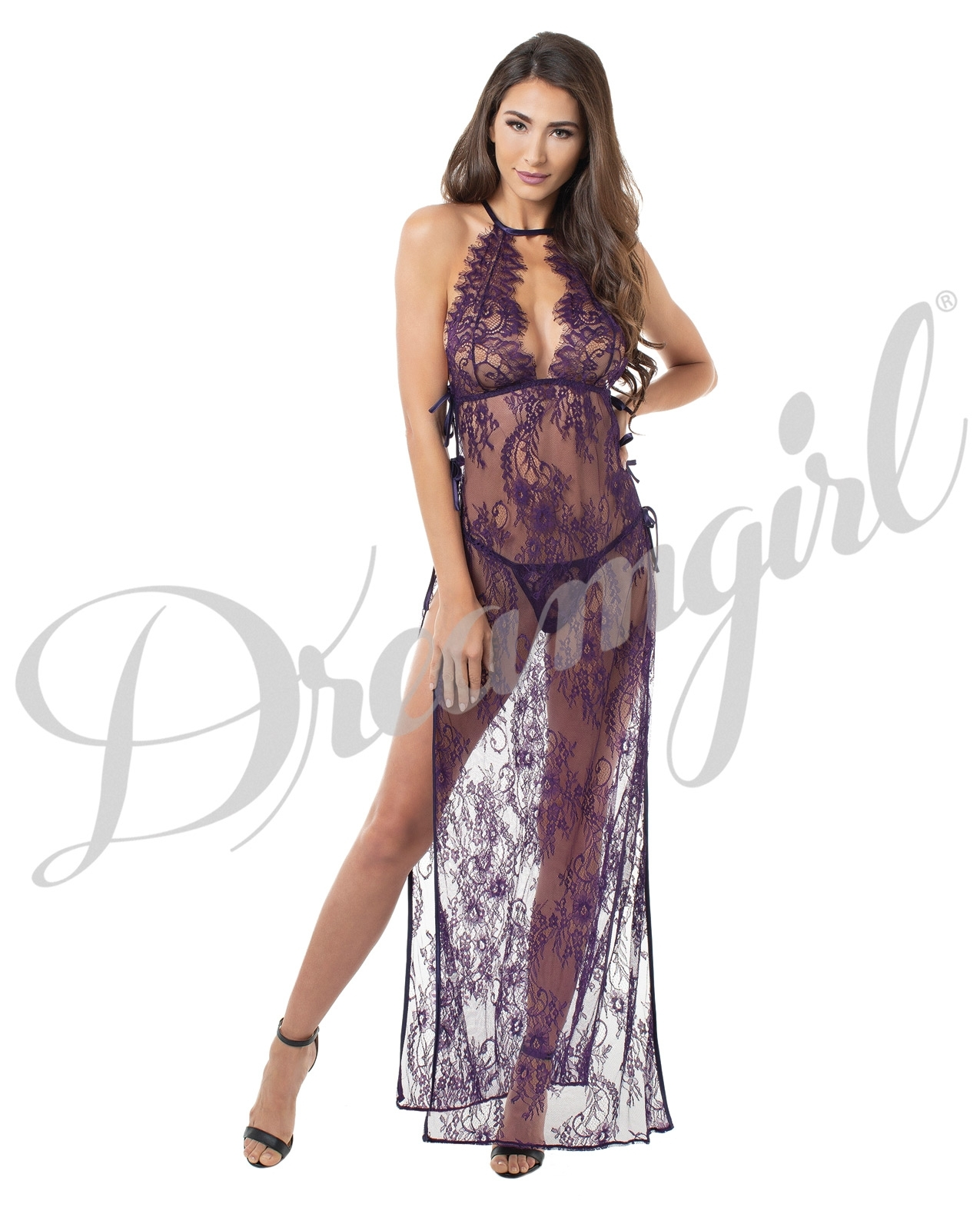 Toga Style Lace Gown w/Adjstble Satin Straps, Halter Cups & G-String Plum XL