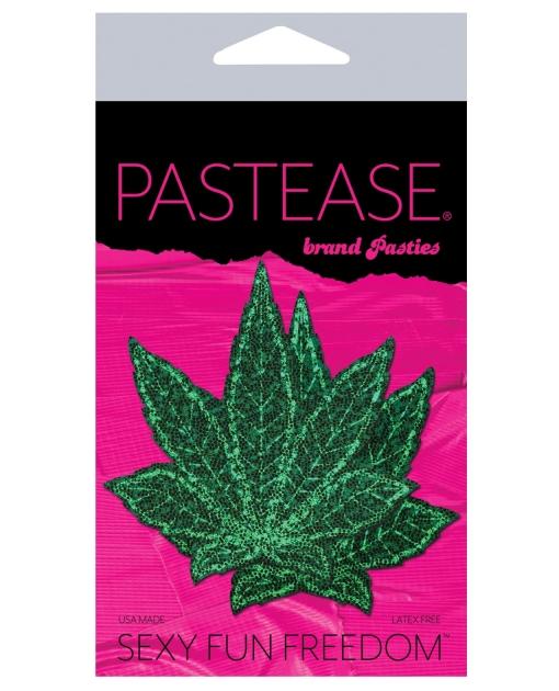Pastease Glitter Marijuana Leafs - Green O/S