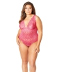 Soft Edged Galloon Lace Teddy w/Adjustable Straps & Snaps Crotch Bright Rose 3X