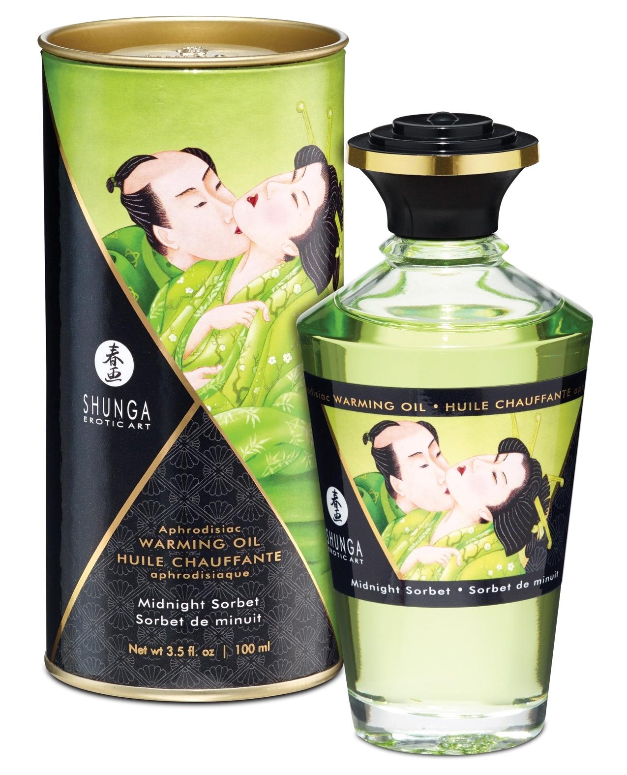 Shunga Warming Oil Midnight Sorbet - 3.5 oz.