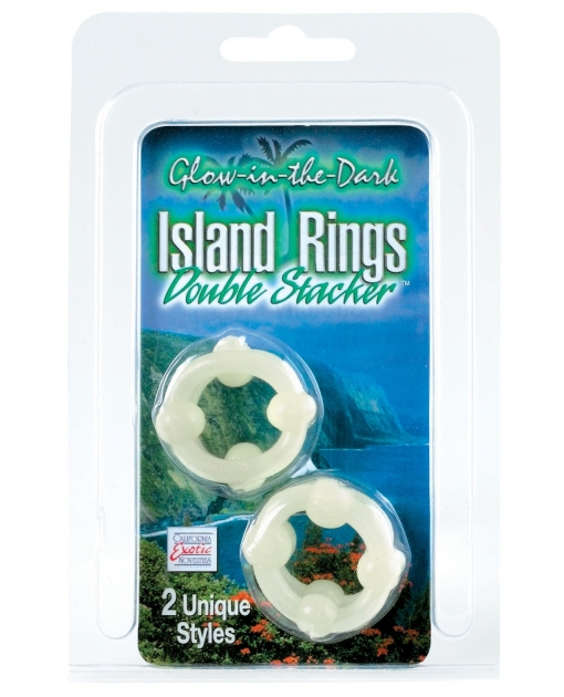 Silicone Island Rings Double Stacker Glow In The Dark
