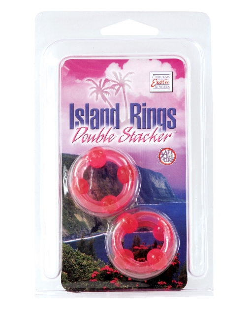 Silicone Island Rings Double Stacker - Pink