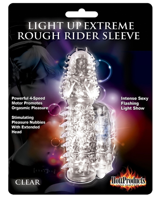 Rough Rider Light Up Vibrating Pleasure Sleeve - Clear