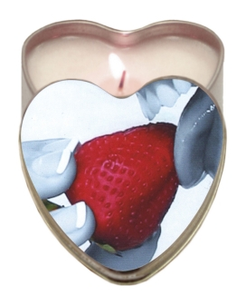 Earthly Body Suntouched Hemp Edible Candle - 4.7 oz Heart Tin Strawberry