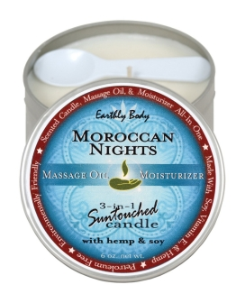 Earthly Body Suntouched Hemp Candle - 6.8 oz Round Tin Moroccan Nights