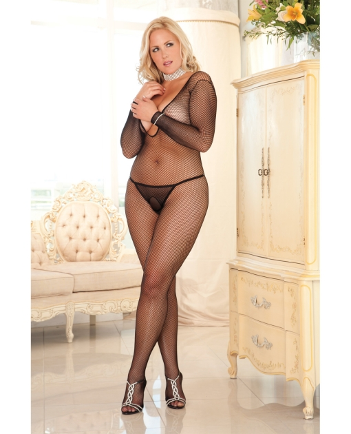 Rene Rofe Criss Cross Backstrap Fishnet Bodystocking Black 1X-3X