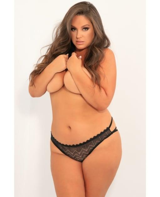 Rene Rofe No Restrictions Crotchless Panty Black 3X-4X