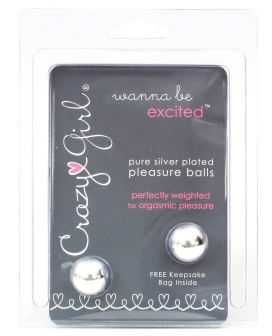 Crazy Girl Pure Silver Plated Pleasure Balls w/Keepsake Bag