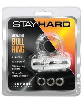 Blush Stay Hard Vibrating Bull Ring Cock Ring - Clear