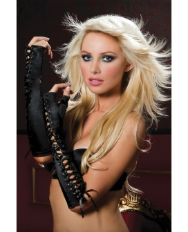 Fingerless Elbow Length Lace-Up Gloves Black O/S