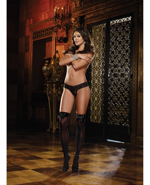 Opaque Thigh Highs w/Satin Bow Black O/S