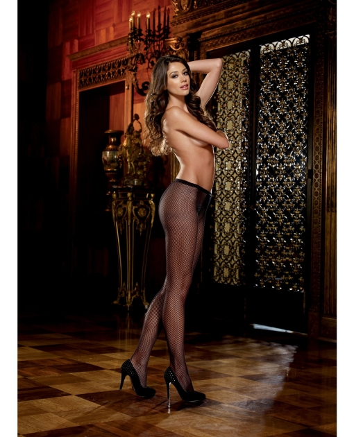Fishnet Pantyhose w/Back Seam Black O/S
