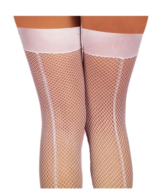 Fishnet Thigh Highs w/Back Seam White O/S