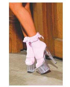 Nylon Anklet w/Ruffle & Satin Bow Pink O/S