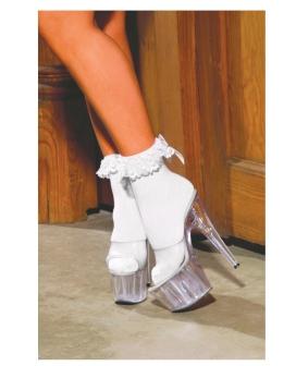 Nylon Anklet w/Ruffle & Satin Bow White O/S