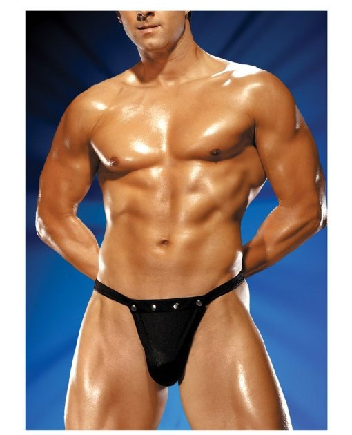 Male Power Rip off Thong w/Studs Black S/M