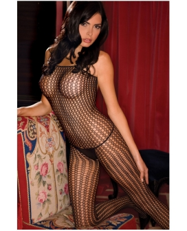 Rene Rofe Quarter Crochet Net Bodystocking Black O/S