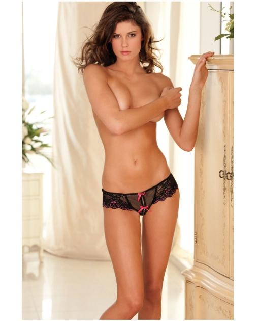 Rene Rofe Crotchless Lace Thong w/Bows Black M/L