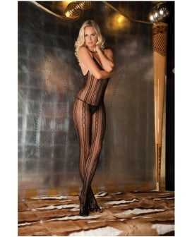 Rene Rofe Seductive Lace Bodystocking Black O/S
