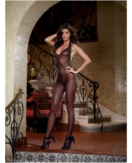 Sheer Halter Bodystocking w/Lace Trim & Low Back Black O/S