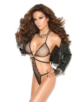 Vivace Diamond Net Teddy w/Rhinestone Detail Black O/S