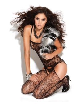 Vivace Lace Suspender Bodystocking Black O/S
