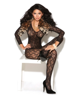 Vivace Long Sleeve Lace Bodystocking Black O/S