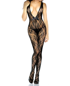 Desire Hosiery Floral Lace Bodystocking Black O/S