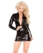 Kitten Wet Look Long Sleeve Zipper Dress Black O/S